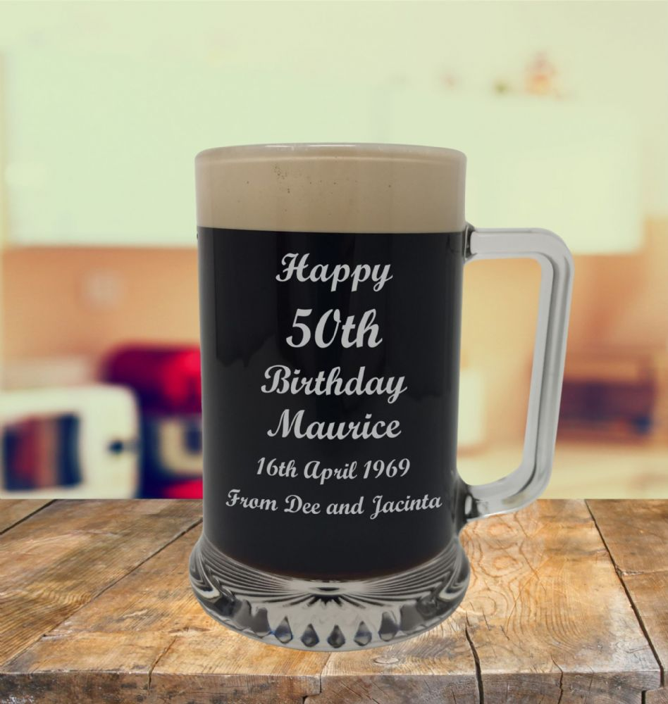 Glass Tankard 50th Birthday, Engraved